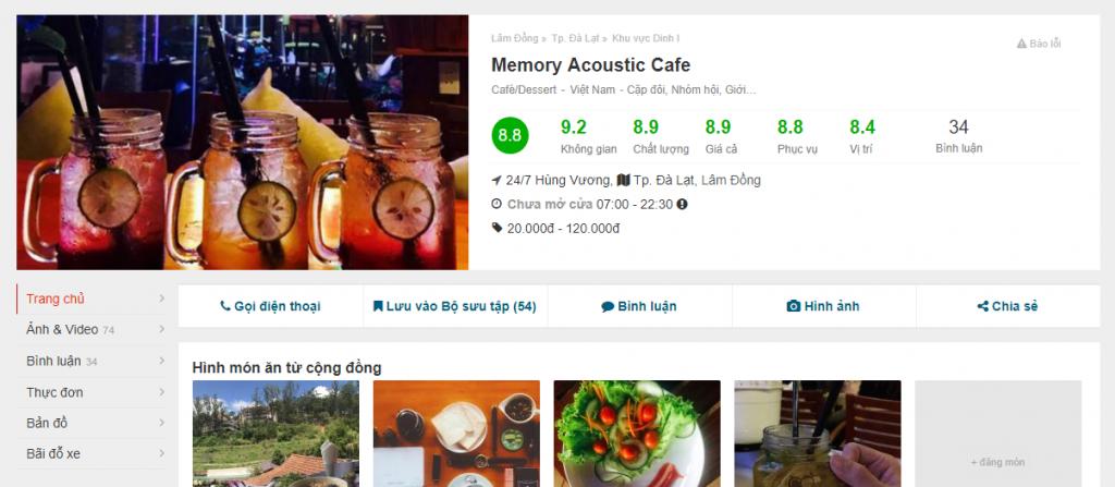 Đánh giá Foody về phòng trà cà phê nhạc Trịnh Memory Đà Lạt