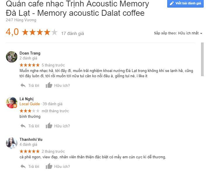 Đánh giá google về phòng trà cà phê nhạc Trịnh Memory Đà Lạt