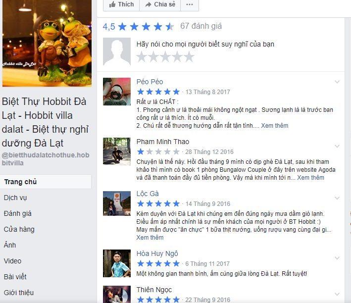 Review cua khach tren fanpage Hobbit Homestay Da Lat - Top homestay Da Lat dep nhat - datphongdalat.vn-01
