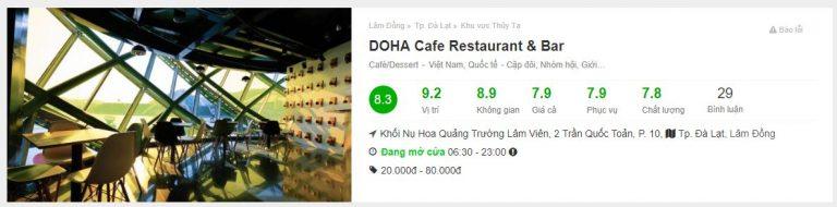 Đánh giá Foody về Doha cafe Đà Lạt - Top 10 quán cafe đẹp nhất Đà Lạt - datphongdalat.vn-01