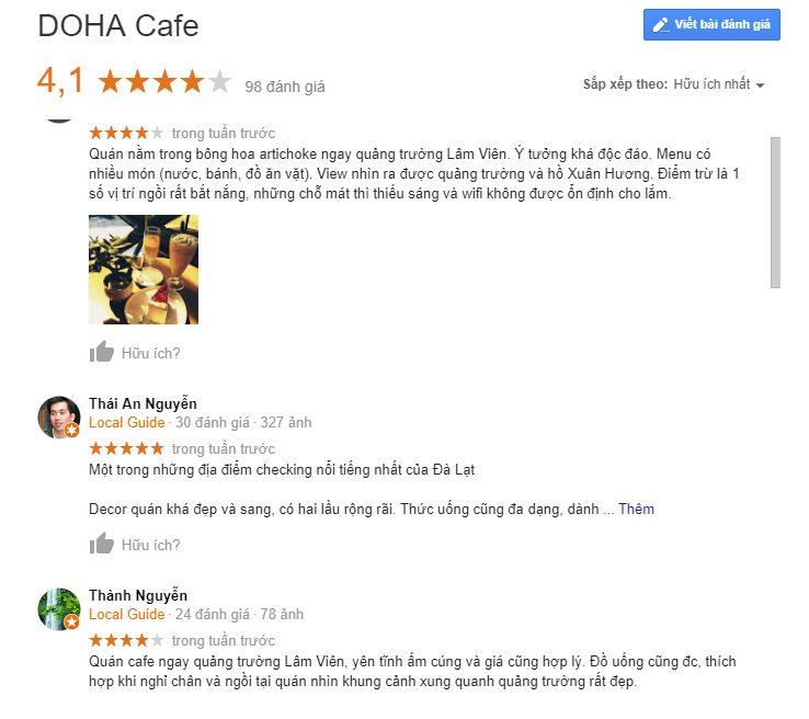 Đánh giá google về cafe Doha Đà Lạt - Top 10 quán cafe đẹp nhất Đà Lạt - datphongdalat.vn