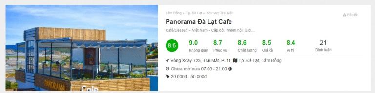 review Panorama cafe - top 10 quán cafe đẹp nhất Đà Lạt