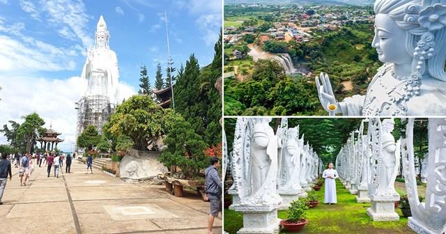 Chùa Linh Ẩn với nhiều tượng Phật được xây xung quanh Chùa