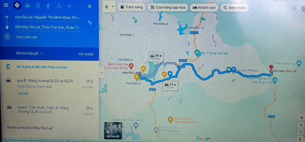 vị trí google map đi săn mây Đà Lạt tại khu du lịch Đồi Mây Đà Lạt
